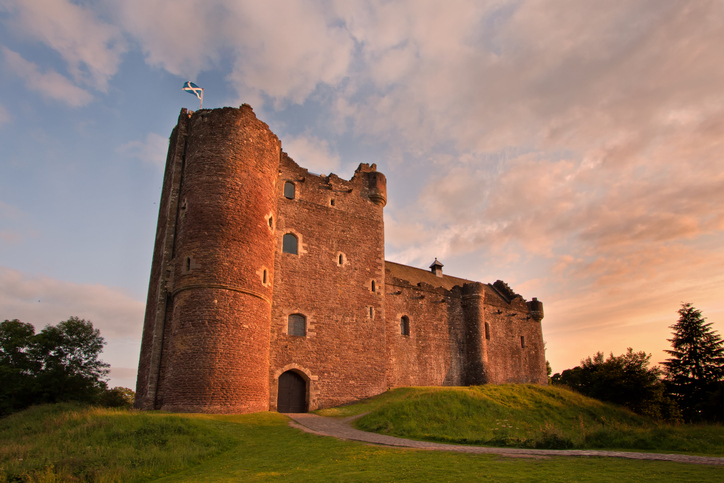 A medieval courtyard fortress built around 1400 by Robert Stewart, Duke of Albany, the Scottish Regent.