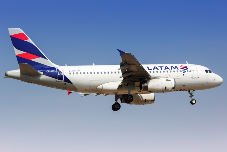 Lima, Peru – February 1, 2019: LATAM Airbus A319 airplane at Lima airport (LIM) in Peru.