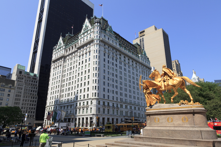 New York, NY, USA - May 25, 2016: Legendary Plaza hotel is a landmark 20-story luxury hotel and condominium apartment.