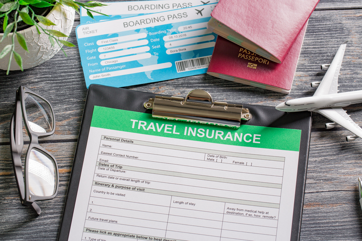 travel agent ticket safe plan trip holiday model insurance money concept air form business security paper transportation concept - stock image