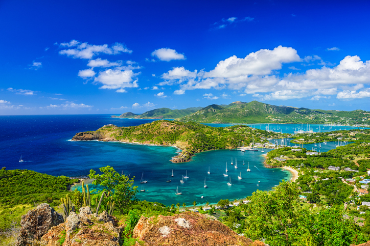 Caribbean view from Shirley Heights, Antigua and Barbuda.