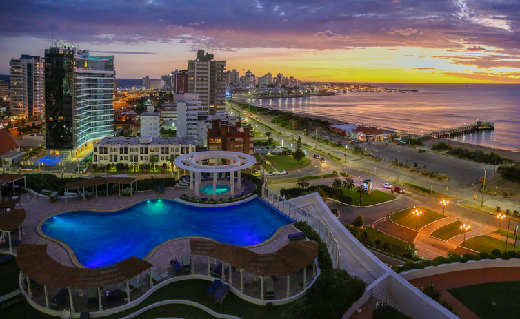 Aerial view over Punta Del Este and Atlantic Ocean on sunset. Uruguay.