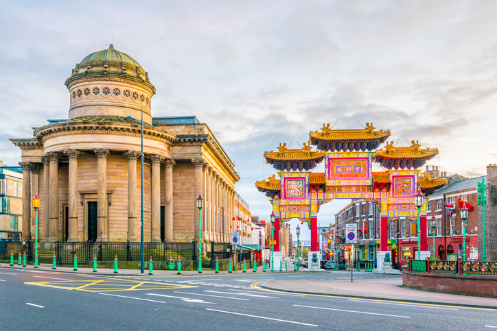 View of the chinatown gate in Liverpool, England