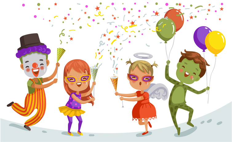 Group of child celebrate  party together. Funny kid clown. Hero girl, fantasy frogman, mascot and little angel in cute red dress. The color of the festive party of children.
