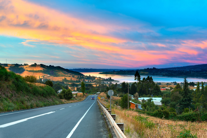 Road to Dalcahue at Chiloe Island, Chile