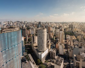 Sao Paulo Skyline with Famous Buildings.