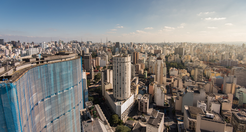 Sao Paulo Skyline with Famous Buildings.