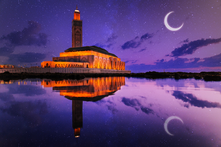 view of Hassan II mosque reflected on water at night - Casablanca - Morocco