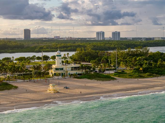 Aerial photo sunset over Haulover Beach Miami FL