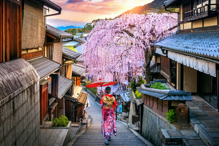 Woman wearing japanese traditional kimono walking at Historic Higashiyama district in spring, Kyoto in Japan.