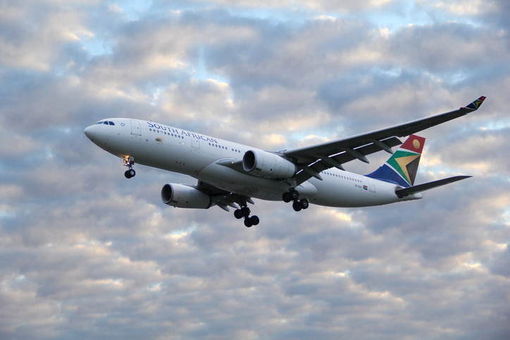 London, United Kingdom - August 16 2015: Commercial passenger airplane airbus A330 of South African airlines on its regular route from South Africa landing at the London Heathrow International Airport