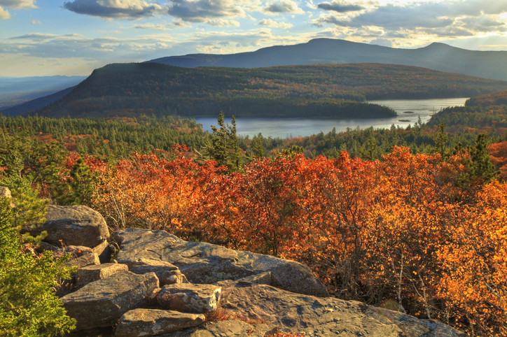 """""""Afternoon sun on sunset rock in the Autumn, overlooking North-South Lake in the Catskills Mountains of New York. (HDR)."""""""