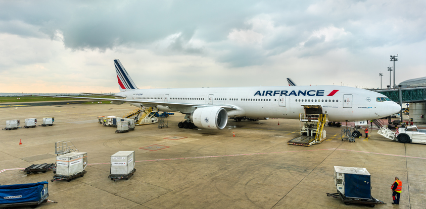 Paris, France - April 28, 2017: Air France Boeing 777-300ER at Charles de Gaulle Airport. Air France was the launch customer of Boeing 777-300ER