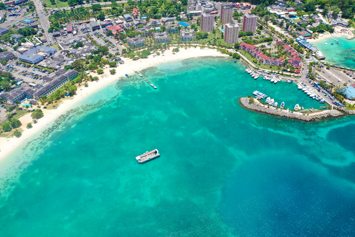 Beautiful view of the beaches in Ochos Rios Jamaica in a summer day.