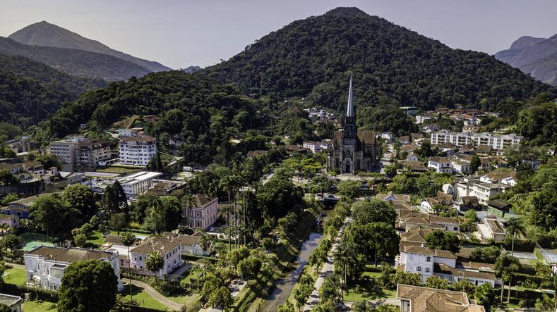 Panoramic view of Sao Pedro de Alcantara Cathedral in Petropolis, Rio de Janeiro, Brazil.