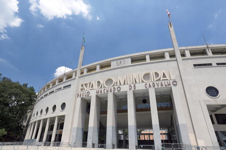 "Sao Paulo, Brazil -  Feb 22, 2015- Pacaembu Stadium (Estadio Municipal Paulo Machado de Carvalho) hosts professional soccer games and also is home to the Museum of Football in Sao Paulo, Brazil""n""n"