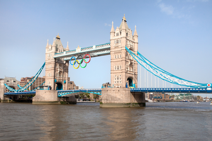 """London, United Kingdom - June 28, 2012: Tower bridge decorated with Olympic rings  London 2012"""
