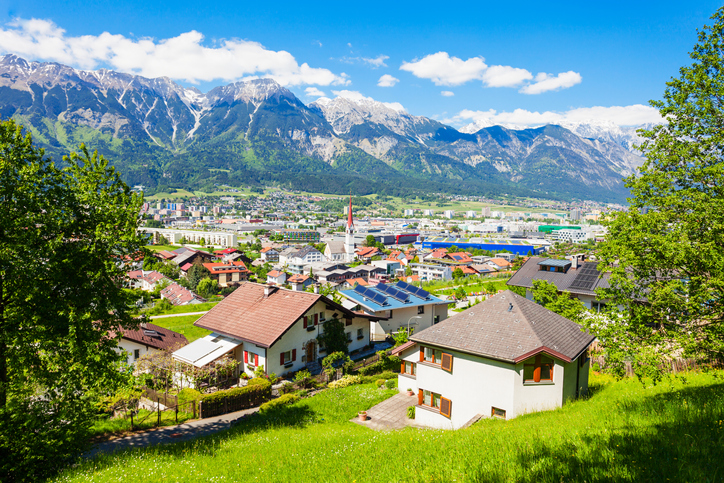 Innsbruck aerial panoramic view. Innsbruck is the capital city of Tyrol in western Austria.