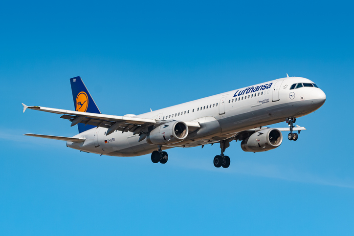 Frankfurt, Germany - July 8, 2018: Lufthansa Airbus A321 airplane at Frankfurt airport (FRA) in the Germany. Airbus is an aircraft manufacturer from Toulouse, France.