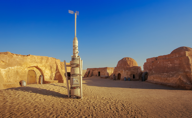 SAHARA, TUNISIA - JUNE 16, 2013: Abandoned sets for the shooting of the movie Star Wars in the Sahara desert on a background of sand dunes on JUNE 16, 2013 in Sahara, Tunisia