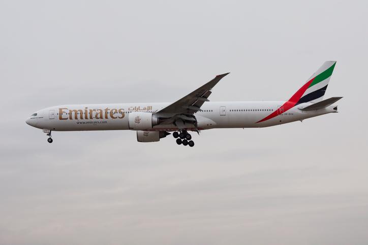 2012: Emirates airlines Boeing 777-300ER A6-ECG passenger plane landing at Frankfurt Airport
