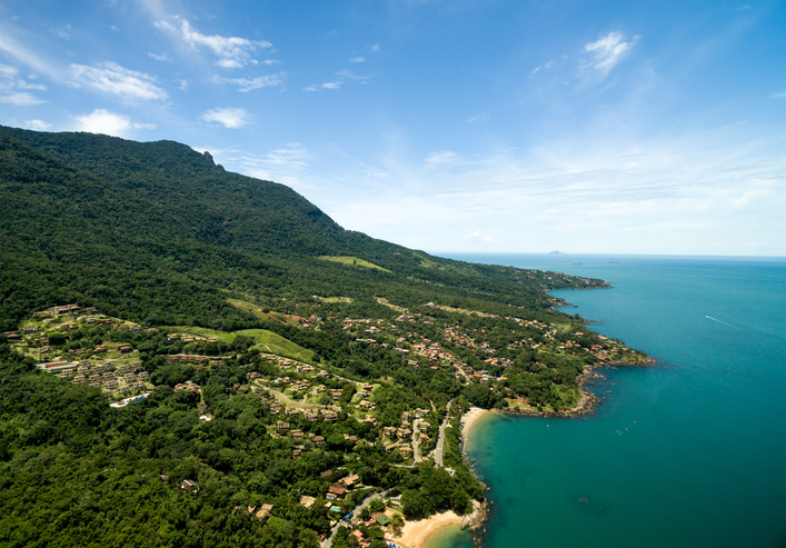 Aerial View of Praia do Curral (Curral Beach) in Ilhabela, Sao Paulo, Brazil