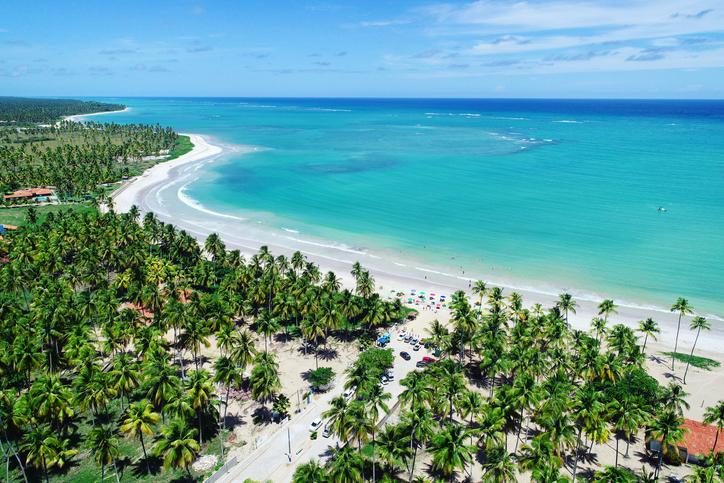 Fantastic landscape. Great beach scene. Paradise beach with crystal water. Brazillian Caribbean.