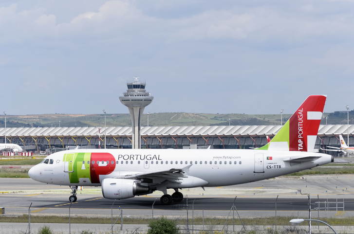 Madrid, Spain - May 15, 2016: Aircraft -Airbus A319- of -TAP Portugal- airline, direction to runway of Madrid-Barajas -Adolfo Suarez- airport, ready to take off, on May 15th 2016.