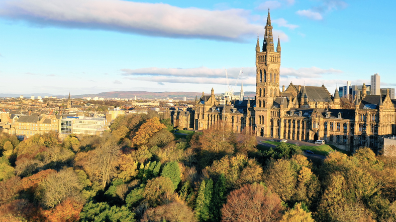 Aerial photography of Glasgow's west end with views of Kelvingrove Park, Glasgow University, Kelvingrove Art Gallery, Finneston, SECC, SEE Hydro, Park Circus, River Kelvin and The Clyde.