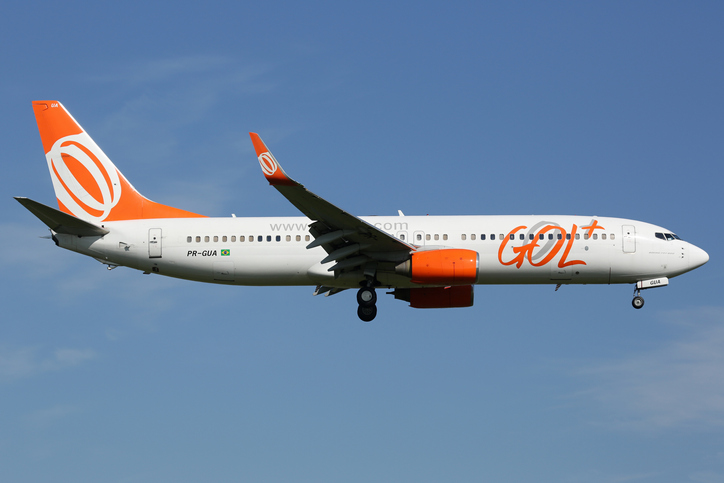 Amsterdam, Netherlands - April 20, 2015: A GOL Linhas Aereas Boeing 737-800 with the registration PR-GUA approaches Amsterdam Airport (AMS) in the Netherlands. GOL is an airline from Brasil with headquarters in Sao Paulo.