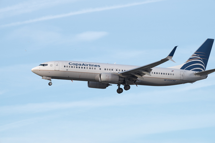 COPA Airlines is the flag carrier of Panama. This image shows a COPA 737 jet approaching Los Angeles International airport for landing.