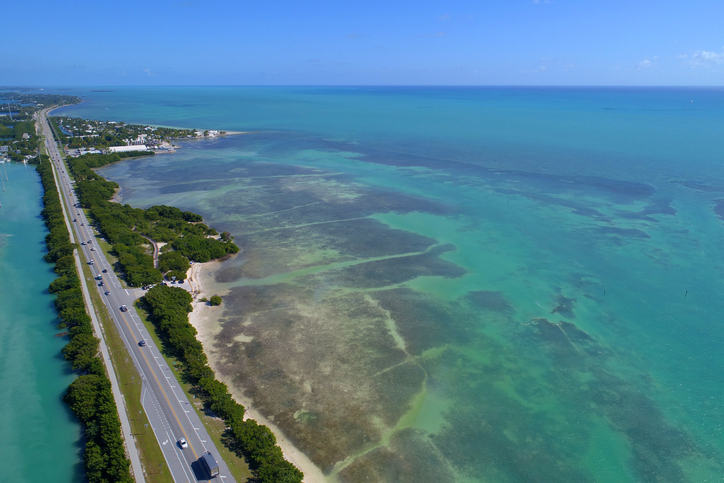 Aerial image of the Overseas Highway in the Florida Keys