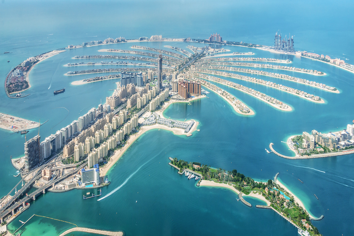 Aerial view of Dubai Palm Jumeirah island, United Arab Emirates