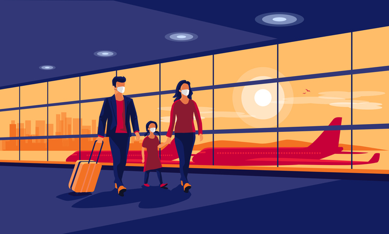 Young family traveler wearing face masks with baggage walking at airport gate terminal lounge traveling on holiday during pandemic outbreak. Airplanes behind glass window. New normal holiday vacation.