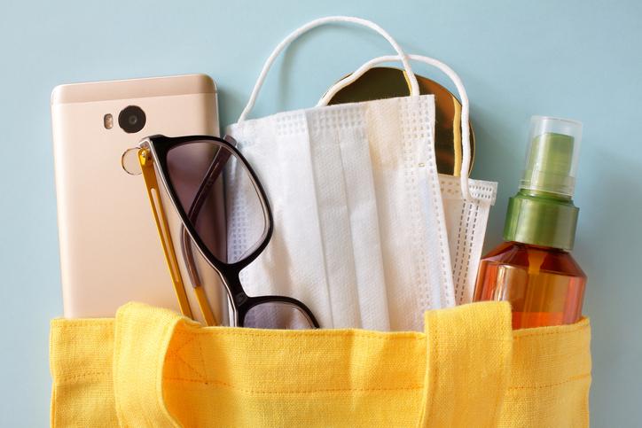 Medical masks, sunglasses, sun protection, mobile phone, powder. Quarantine Precautions. Female set