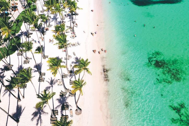 aerial view of a wonderful exotic tropical caribbean beach, Punta Cana, Dominican Republic