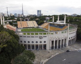 Football around the world,  Pacaembu Stadium Sao Paulo Brazil   Video made day 06/27/2016  Name: Municipal Paulo Machado de Carvalho stadium Filming with drone  MORE OPTIONS IN MY PORTFOLIO