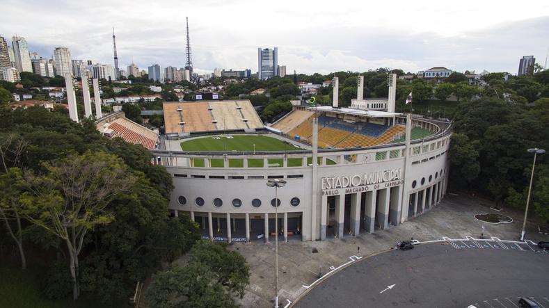 Football around the world,  Pacaembu Stadium Sao Paulo Brazil   Video made day 06/27/2016  Name: Municipal Paulo Machado de Carvalho stadium Filming with drone  MORE OPTIONS IN MY PORTFOLIO