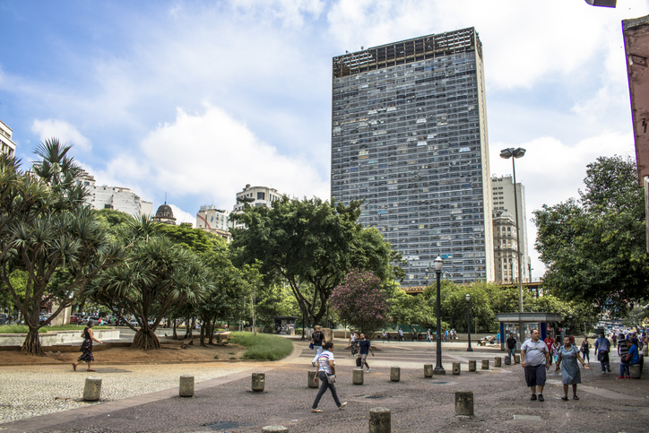 Sao Paulo, SP, Brazil, February 10, 2017. Facade of the Mirante do Vale or W. Zarzur Building seen from the Anhangabau Valley, downtown Sao Paulo. Today it is the tallest building in the city with 51 floors.