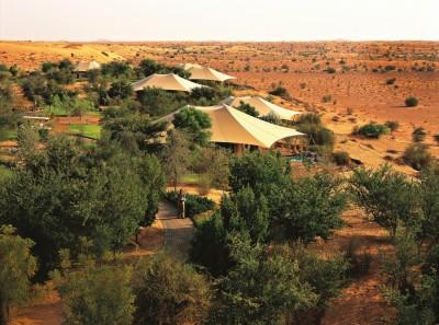O luxuoso resort foi projetado para ser um refúgio exclusivo no deserto.