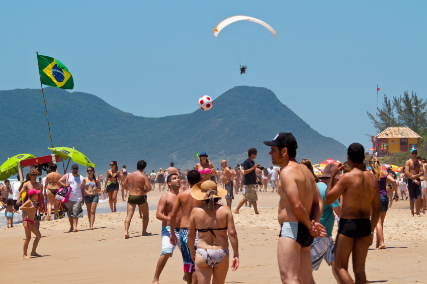 Florianopolis, SC, Brazil - Feb 3, 2012: People enjoying a holiday at the beach in Florianopolis, Santa Catarina, Brazil.