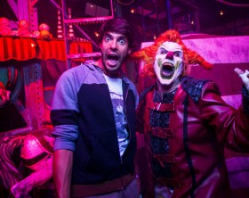 """World famous soccer star Ricardo Kaká received a horrifying """"murderous"""" welcome to Halloween Horror Nights 25 at Universal Orlando Resort on Thursday, October 22. The World Cup champion came face to face with this year's ringmaster, Jack the Clown, before enjoying the event's disturbingly-real haunted houses and scarezones. Kaká is the recipient of the prestigious Ballon d'Or award and currently plays in the MLS.Select nights through Nov. 1, guests can visit Universal Orlando's theme parks by day and become victims of their own horror film by night at Halloween Horror Nights."""