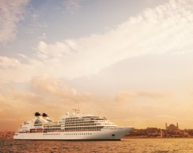 seabourn sojourn,sojourn,sunset,evening,anchored,anchor,ship