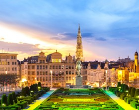 Brussels Cityscape from Monts des Arts at dusk, Belgium