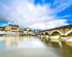 Amboise medieval castle or chateau and bridge on Loire river. France, Europe. Unesco site.