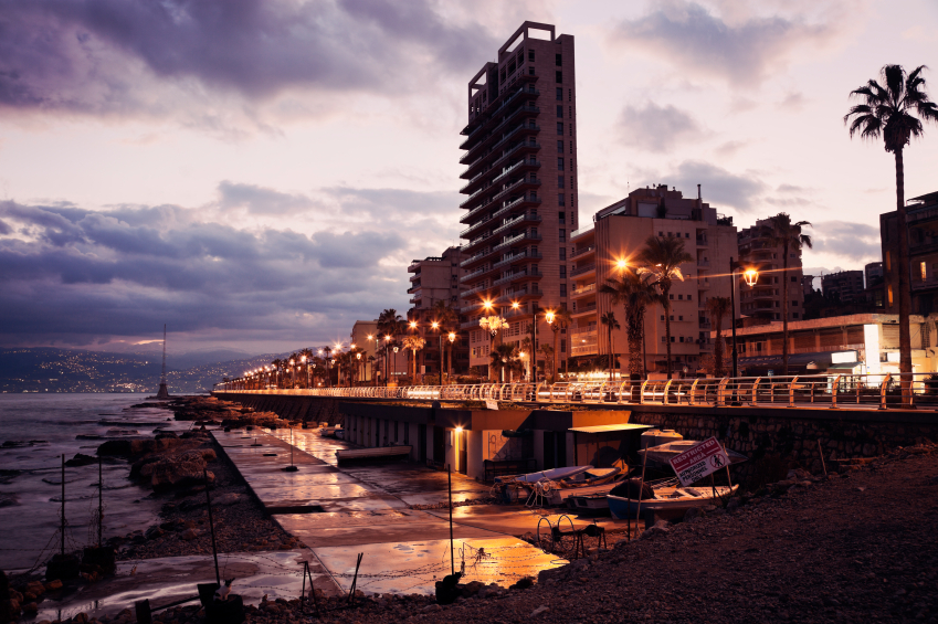 Architecture of downtown Beirut seen during sunrise