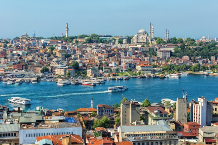 Ferry ships sail up and down the Golden Horn in Istanbul, Turkey.