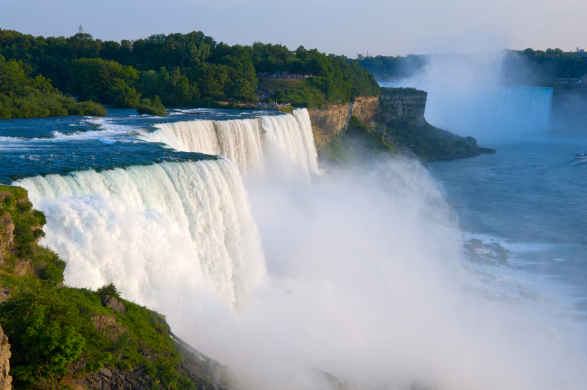 Atop American Falls from observation deck at Niagara Falls State Park in New York