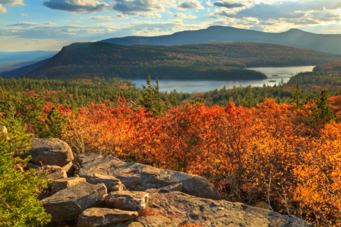 Afternoon sun on sunset rock in the Autumn, overlooking North-South Lake in the Catskills Mountains of New York. (HDR)