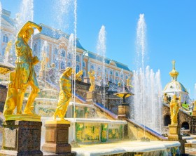 Grand Cascade in Perterhof Palace. Saint Petersburg, Russia